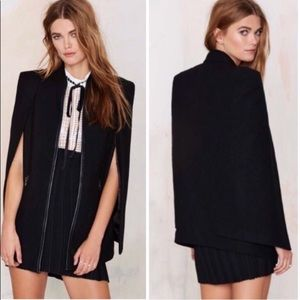 Nasty Gal wool structured cape coat Size Small NWT